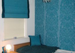 Roman blind with contrast sides and matching scatter cushion