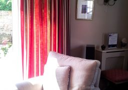 Triple pleat with contrast buttons curtains