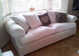 Sofa Cover with scatter cushions and arm caps