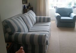 Striped Sofa with matching plain fabric Chair